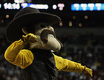 Wyoming Mascot Pistol Pete performs during their game against Northern Iowa in the 2015 NCAA Division I Men's Basketball Championship March 20, 2015 at the Key Arena in Seattle, Washington.   Northern Iowa beat Wyoming 71 to 54.   ©2015.  Jim Bryant Photo. All Rights Reserved.