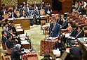 February 3, 2012, Tokyo, Japan - Japans Defense Minister Naoki Tanaka speaks during a Diet lower house Budget Committee meeting in Tokyo on Friday, February 3, 2012. Seated in background are, Prime Minister Yoshihiko Noda, right, and Finance Minister Jun Azumi. Tanaka was caught in a crossfire from the opposition camp when a senior Defense Ministry official has come under fire for encouraging his subordinates to vote in the upcoming mayoral election in Ginowan, Okinawa Prefecture, which hosts the U.S. Marine Corps' Air Station in Futennma. (Photo by Natsuki Sakai/AFLO) AYF -mis-