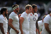 Joe Launchbury and the rest of the England forwards pack down for a scrum. QBE International match between England and Ireland on September 5, 2015 at Twickenham Stadium in London, England. Photo by: Patrick Khachfe / Onside Images