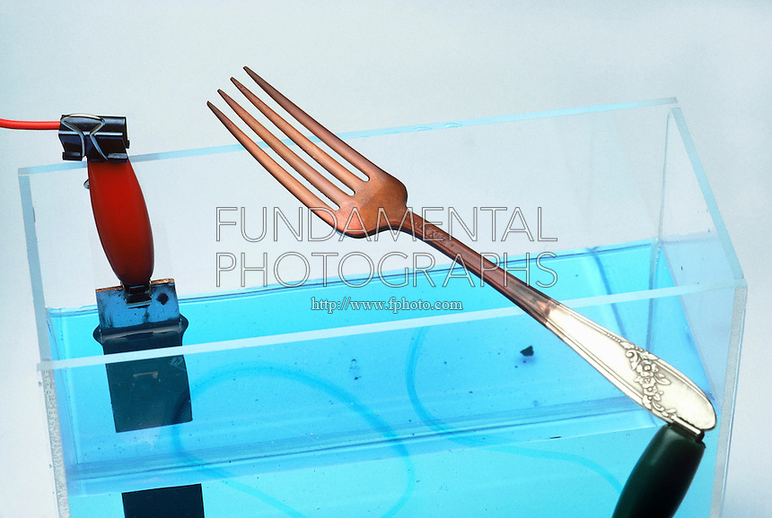 COPPER PLATING APPARATUS<br /> Copper plating a fork<br /> (2 of 2)<br /> Copper sulfate solution  breaks into copper ions (Cu2+) and sulfate ions (SO42-). When electric current flows the solution, Cu2+ bonds with negatively charged metal.