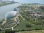 View of Gardens by the Bay from Marina Bay Sands hotel skydeck