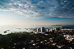 Aerial view of Coconut Grove in early morning light.