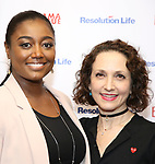 Patina Miller and Bebe Neuwirth attends the 2017 Drama League Award Nominees Announcements at Sardi's on April 19, 2017 in New York City.