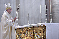 Pope Francis during  mass in St Peter's basilica before the opening of the General Assembly of Caritas Internationalis on May 12, 2015 in Vatican.