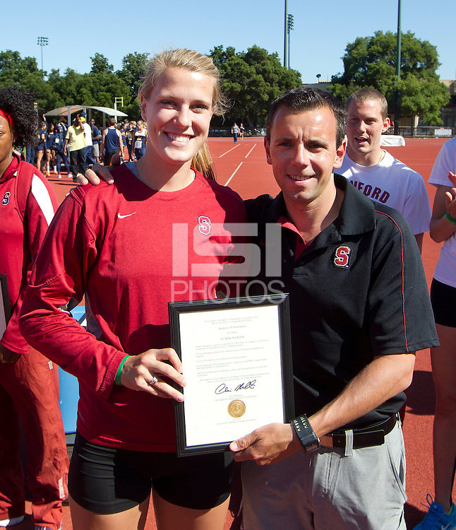 Stanford, CA., April 20, 2013,--Stanford's honors Elaine Patten at the 119 Big Meet at Cobb Track and Angell Field at Stanford University.