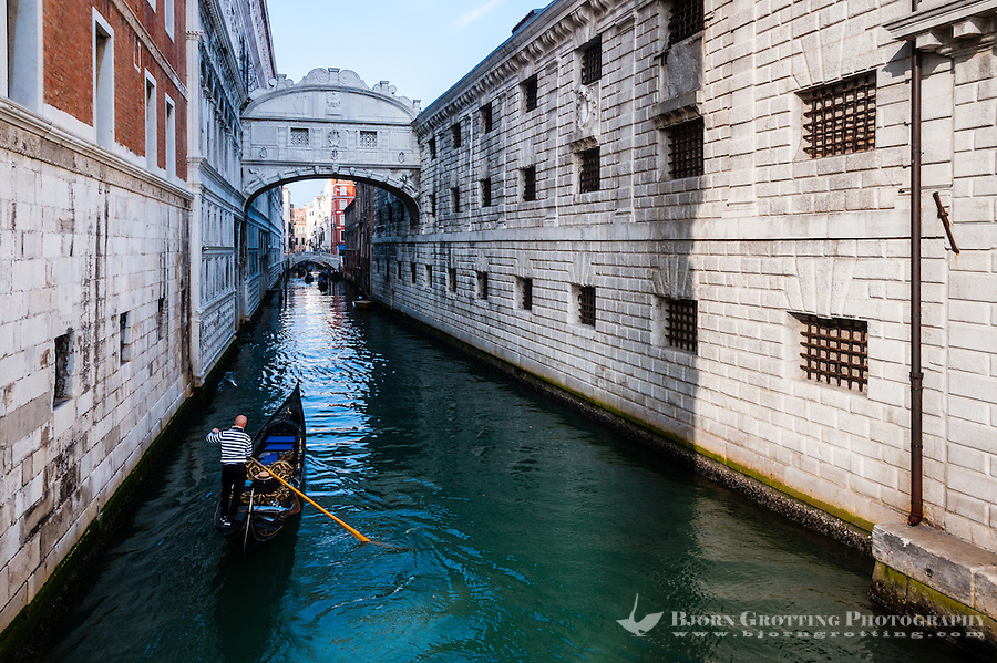Italy, Venice. Bridge of Sighs to the Doge's Palace.