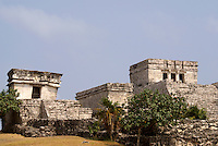 El Castillo and Temple of the Descending God, Tulum,Riviera Maya, Quintana Roo, Mexico.