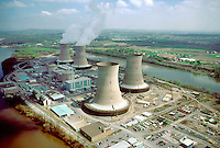 Nuclear Power Plant, Three Mile Island, on the Susquehanna River, TMI, Aerial. Pennsylvania USA Susquehanna River.