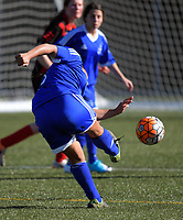 Action from the Women's 2017 Executive Plate football match between Wellington Olympic (blue) and Brooklyn Northern United at Wakefield Park in Wellington, New Zealand on Sunday, 23 April 2017. Photo: Dave Lintott / lintottphoto.co.nz