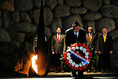 United States Secretary of Defense Leon Panetta takes part in a wreath laying ceremony at the Holocaust Museum at Yad Vashem in Jerusalem, Israel, in remembrance of six million Jews murdered during the Holocaust, October 3, 2011. .Mandatory Credit: Jacob N. Bailey / USAF via CNP