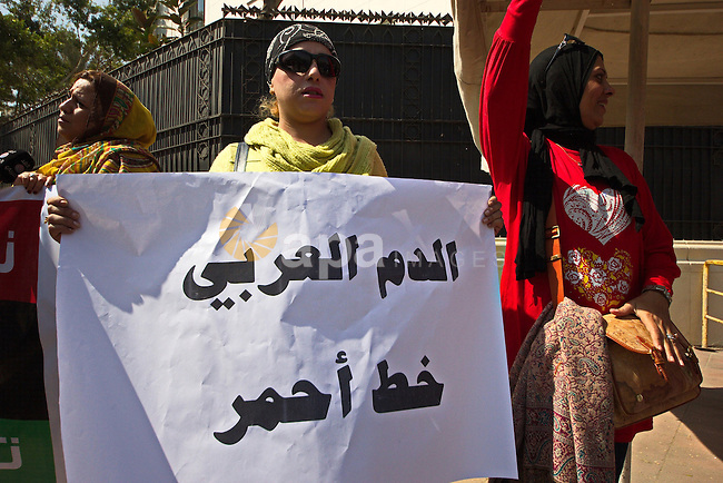 An Egyptian woman holds banners during a rally to support the Egyptian army and President Abdel Fattah al-Sisi, outside the Arab League headquarters, in Cairo on March 18, 2015. Photo by Amr Sayed