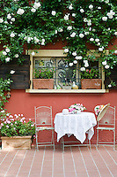An Iceberg climbing rose frames a window overlooking a wrought iron table and chairs