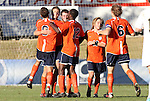 10 November 2010: Virginia's Hunter Jumper (2nd from left) celebrates scoring the game's only goal. The University of Virginia Cavaliers defeated the Wake Forest University Demon Deacons 1-0 at Koka Booth Stadium at WakeMed Soccer Park in Cary, North Carolina in an ACC Men's Soccer Tournament Quarterfinal game.