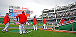 29 March 2008: Washington Nationals' players take batting practice prior to an exhibition game against the Baltimore Orioles at Nationals Park, in Washington, DC. The matchup was the first professional game played in the new ballpark, prior to the upcoming official opening day inaugural game. The Nationals defeated the Orioles 3-0...Mandatory Photo Credit: Ed Wolfstein Photo