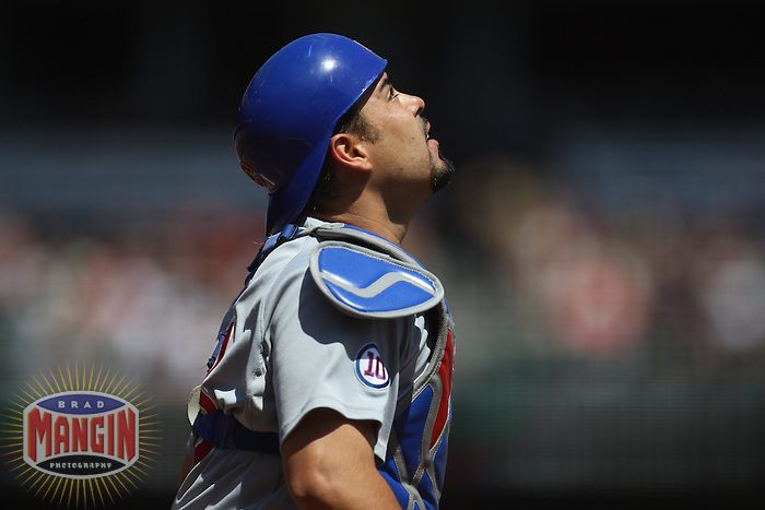 SAN FRANCISCO - AUGUST 31:  Geovany Soto #18 of the Chicago Cubs chases a foul ball against the San Francisco Giants during the game at AT&T Park on August 31, 2011 in San Francisco, California. Photo by Brad Mangin