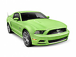 Green 2013 Ford Mustang GT 5.0 sports car isolated on white background with clipping path