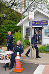 Mannequin dressed in Auxiliary Police uniform and woman's wig, with Auxiliary Police outside of Nassau County Police and Auxiliary Police Building, at Bellmore Fair, New York, USA, on September 18, 2011 EDITORIAL USE ONLY