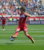 Chicago forward Diego Chaves (99) makes a move toward the goal.  The Chicago Fire tied the New York Red Bulls 1-1 at Toyota Park in Bridgeview, IL on June 26, 2011.