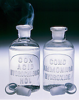 AMMONIUM CHLORIDE FOG FORMATION<br /> Open Bottles of Ammonia &amp; Hydrochloric Acid.<br /> The stoppers of two reagent bottles one of HCl &amp; the other of NH3OH are removed. The reaction between gaseous NH3 &amp; HCl escaping from the aqueous solutions forms a white fog of solid NH4Cl. Bronsted-Lowry acids and bases.