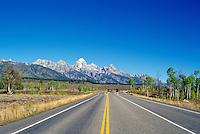 Grand Teton National Park, Wyoming, WY, USA - Teton Park Road, Grand Teton (Elev 4,197 m / 13,770 ft), and the Teton Range Mountains, Summer