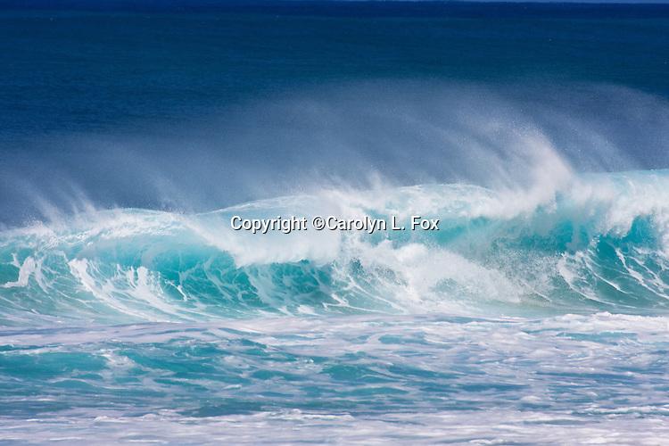 Waves rise off the ocean floor in Oahu, Hawaii.