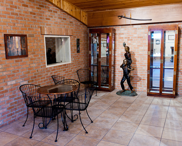 At the back of the tasting room is a small, quiet area with seating and displays.  This was once the winery's main entrance, before the current tasting room was added.