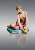 Painted colour verion of a Nymph with a shell ( Nymphe a la coquille ) a 1st century marble statue from Italy which was part of the Borghese collection . Louvre Museum, Paris Cat No MR 309. <br /> The Nymph with a shell statue was much admired in the 17th century and influenced such art its as Velasquez. The statue symbolises a carefree childhood and the fact that terracotta versions have been found in tombs suggests that the statue was associated with the injustice of death or of a rebirth.