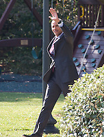 United States President Barack Obama waves to supporters as he departs the White House in Washington, DC to make campaign stops in Fayetteville and Charlotte, North Carolina for Democratic presidential candidate Hillary Clinton on Friday, November 4, 2016.  He will return late tonight.<br /> Credit: Ron Sachs / CNP /MediaPunch