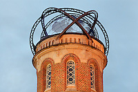 Tower with iron globe, at the Jules Verne Museum, the home of the writer from 1882-1900, on the rue Charles Dubois, Amiens, Picardy, France. The house was built 1845-54 and now houses a museum displaying books and objects belonging to Jules Verne, 1828-1905, who wrote many of his works here. Picture by Manuel Cohen