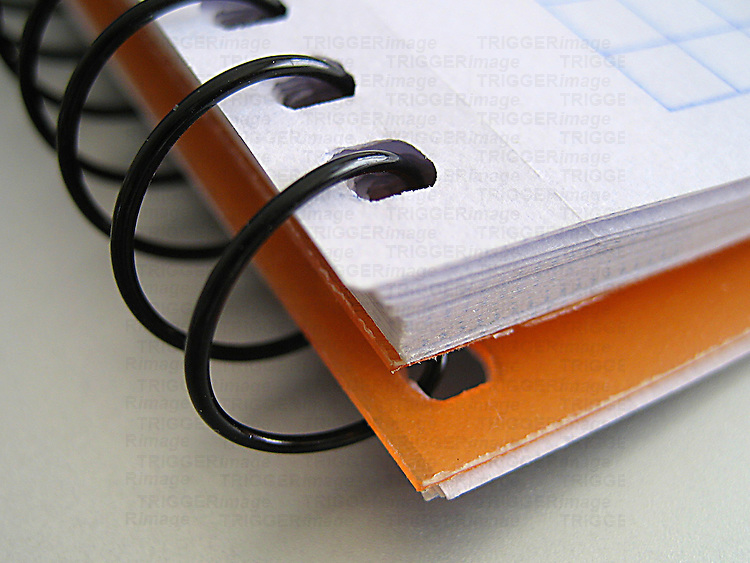 A macro shot of paper binder
