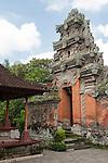 Ubud, Bali, Indonesia; s stone carved archway inside the Balinese Hindu temple, Pura Desa