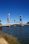 California, CA, Delta, movable bridge, vertical lift style..Photo caggbr201.    .Photo Copyright: Lee Foster, www.fostertravel.com, 510-549-2202, lee@fostertravel.com