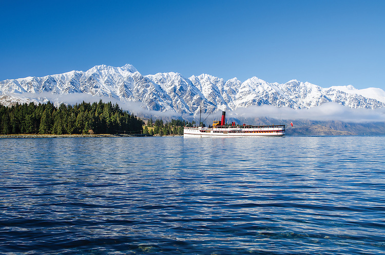 TSS Earnslaw, Remarkables, Queenstown, New Zealand - stock photos, fine art, canvas print