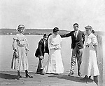 Lakewood NY:  Clark & Helen Stewart and friends waiting on the City of Cleveland ferry - 1901. Photographs taken during a church field trip to Chautauqua Institution in New York (Lake Chautauqua). The Stewart family and friends visited Chautauqua during 1901 to hear Stewart relative, Dr. S.H. Clark  speak at the institute. Alice Brady Stewart chaperoned and Brady Stewart came along to photograph the trip.  The Gallery provides a glimpse of how the privileged and church faithful spent summers at Lake Chautauqua at the turn of the century.