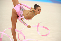 August 23, 2008; Beijing, China; Rhythmic gymnast Evgenia Kanaeva of Russia balances with ribbon on way to winning gold in the All-Around final at 2008 Beijing Olympics..
