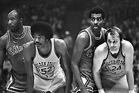 Warriors vs Chicago Bulls. Rick Barry and George Johnson,Bulls, Nate Thurmond and Bob Love.  (1975 photo/Ron Riesterer)