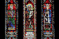 David, St Anne and Salomon, five lancets window, North Rose window, circa 1230, Chartres Cathedral, Eure et Loir, France. Picture by Manuel Cohen