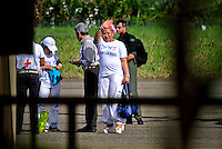 Former Colombian senator Piedad Cordoba salutes to the crowd during the process to receive a group of 10 hostages held for more than 12 years release by FARC members in Villavicencio, Colombia. 27/03/2012.  Photo by Nestor Silva / VIEWpress.
