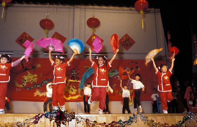 Berkeley CA 3rd and 4th graders putting on a dance show for school to celebrate Chinese New Year's
