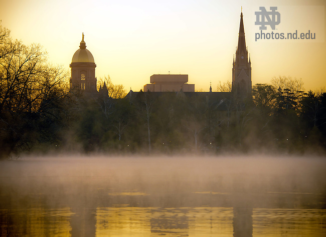 Apr. 12, 2012; Main Building, Hesburgh Library and Basilica Steeple at sunrise...Photo by Matt Cashore/University of Notre Dame