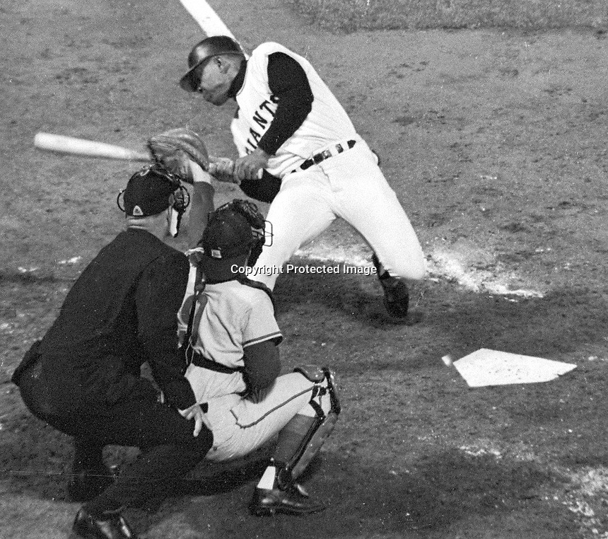 San Francisco Giants Willie Mays is brushed back by Chicago Cubs...(1966 photo/Ron Riesterer)