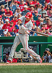 11 September 2016: Philadelphia Phillies infielder Cesar Hernandez in action against the Washington Nationals at Nationals Park in Washington, DC. The Nationals edged out the Phillies 3-2 to take the rubber match of their 3-game series. Mandatory Credit: Ed Wolfstein Photo *** RAW (NEF) Image File Available ***