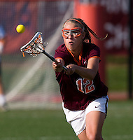 Jessica Nonn (12) of Virginia Tech reaches for a loose ball during the first round of the ACC Women's Lacrosse Championship in College Park, MD.  Virginia defeated Virginia Tech, 18-6.