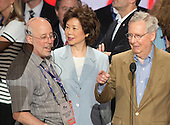 United States Senate Majority Leader Mitch McConnell (Republican of Kentucky) and his wife, Elaine Chao participate in a rehearsal prior to the 2016 Republican National Convention in Cleveland, Ohio on Sunday, July 17, 2016.  <br /> Credit: Ron Sachs / CNP<br /> (RESTRICTION: NO New York or New Jersey Newspapers or newspapers within a 75 mile radius of New York City)