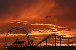 Santa Monica, CA, USA; a spectacular California sunset @The Santa Monica Pier.