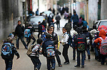 Palestinian students back from their school after a study day in the southern Gaza strip town of Rafah, Jan. 31, 2013. Photo by Eyad Al Baba