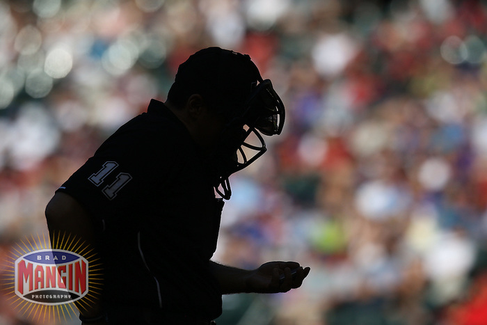 PHOENIX - MAY 01:  Home plate umpire Tony Randazzo works during the game between the Chicago Cubs and the Arizona Diamondbacks on May 1, 2011 at Chase Field in Phoenix, Arizona. Photo by Brad Mangin