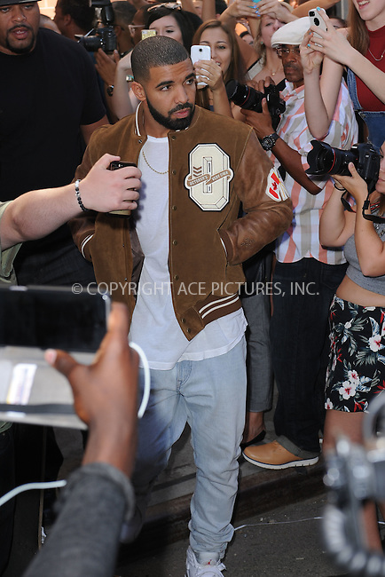 WWW.ACEPIXS.COM<br /> September 16, 2015 New York City<br />  <br /> Drake leaving Kanye West Fashion Show on September 16, 2015 in New York City.<br /> <br /> <br /> <br /> Credit: Kristin Callahan/ACE<br />  <br /> Tel: 646 769 0430<br /> Email: info@acepixs.com<br /> www.acepixs.com