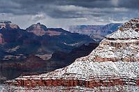View from south rim of springtime snow storm, Grand Canyon national park, Arizona, USA