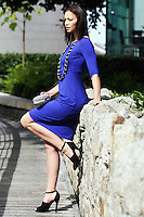 31/8/2010. Dundrum Town Center preview Autumn Winter 2010 Collection. Model Irma is pictured wearing a Purple dress by LK Bennett EUR140, Necklase from River Island EUR19.95, Shoes from Zara EUR79.95 and a Diamante Bag from Coast EUR70 at the Dundrum Town Centre . Picture James Horan/Collins